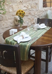 Elegant table appointments in traditional mediterranean restaurant .Greece